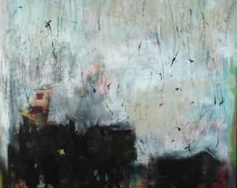 Abstract, original painting on canvas - I Can See Clearly Now