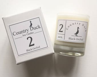 Black orchid soy boxed candle - 20cl hand made in Devon. Eco friendly vegan candle.