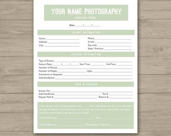 Client Booking Form - Photoshop Template for Photographers - PSD *INSTANT DOWNLOAD*