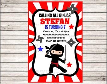 50% OFF SALE Ninja invitation; Ninja Birthday invitation, Ninja party Invitation Digital File