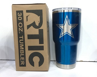 Custom Powder Coated 30 or 20 oz RTIC Rambler/Tumbler/Cup Dallas Cowboys Candy Blue NFL Playoffs Personalized Add Your Name