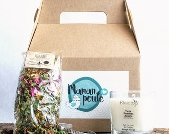Box Mama hen, candle, bracelet and herbal tea, shower gift, Christmas