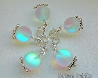 Frost Moonstone Stitch Markers Charms for Knitting and Crochet Set of 5 Silver Plated Floral Beads