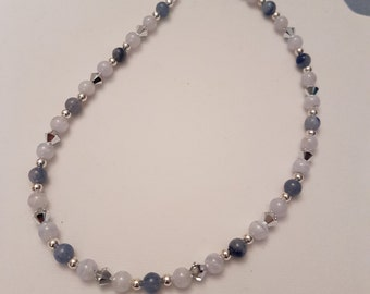 Ras-the-neck Aventurine and blue Agate necklace