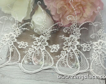 Off-white lace trim with unique floral pattern embroidery/white lace fabric/wedding lace/bridal lace/13 inches wide lace by the yard/EL-56