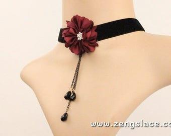 Black Lace Choker/Tassel Choker/Flower Charm Choker/Thin Necklace Choker/Choker Necklace/Romantic Choker/Gothic Choker, LN-10-BL