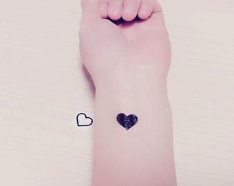 20 tiny heart temporary tattoos/ heart tattoos / tiny tattoos / black tattoos/ lovers tattoos / outline tattoo/ valentine gift