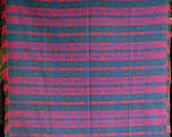 Antique  Coverlet in Blue, Green and Red,  Queen Size Jacquard Coverlet Circa 1840. Seamless Panel with Fringe on 3 Sides, Reversible #14037