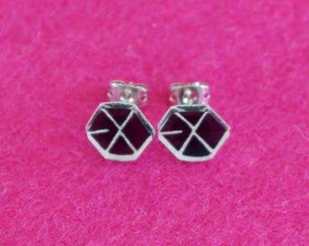 EXO Earrings (KPOP), handmade with plastic, Korean music, boysband, SM Entertainment