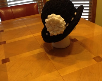 Roll Brim Hat with detachable flower and band