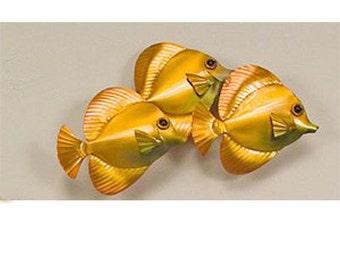 Yellow Tangs School of 3 Metal Fish - CO117