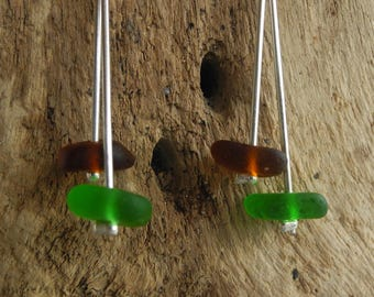 Cornish sea glass earrings, Green & Brown sea glass, Sterling silver findings, Silver plated posts, gift