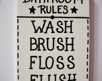BATHROOM RULES SIGN,Wash,Brush,Floss,Flush,bathroom wood sign,bathroom decor