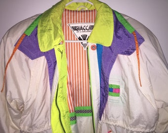 Vintage 1980s Ski Jacket, GIACCA by J. Gallery Retro Winter Coat with Shoulder Pads, White Jacket with Fluorescent Accents