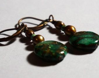 "Green Magnesite Earrings - ""Canopy"""
