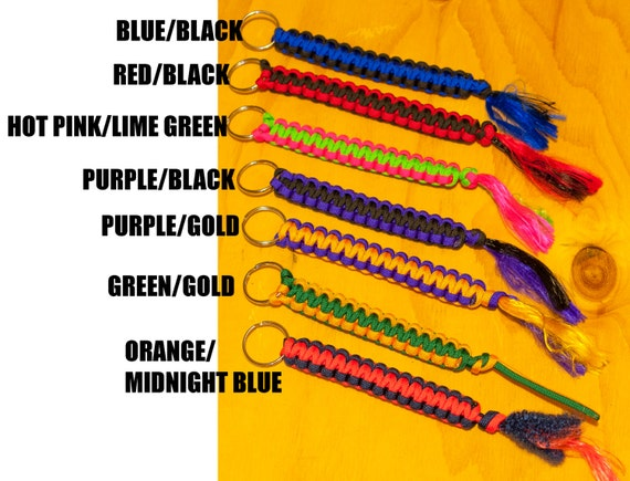 """Paracord Keychain Various Colors 6"""" length 6 feet of paracord"""
