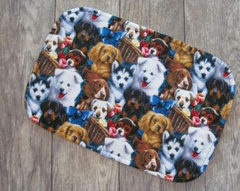 Dog Food Placemat, Reversible Pet Food Mat, Mixed Breed Dog Faces Food Mat, Pet Placemat, Dog Feeding Mat