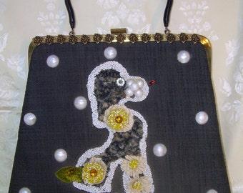SO CHIC~ vintage SOURE poodle purse handbag~lucite handle~black linen