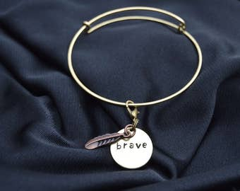 Brave with Feather Hand Stamped Bracelet