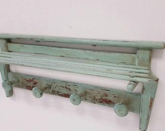 Coat rack wood Vintage Chippy Green