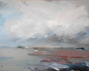 Sea horizon, Stormy sea landscape, Seascape oil painting, Original oil handpainted wall decoration, Dramatic nature, Contemporary art