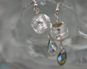 Handmade Swarovski and silver glass bead SS earrings
