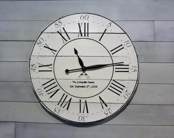 Farmhouse Clock,Personalized Clock, Big Wall Clock,Wooden Clock,Handmade Clock,FixerUpper Clock,Painted Clock,Rustic Clock, Wedding gift,