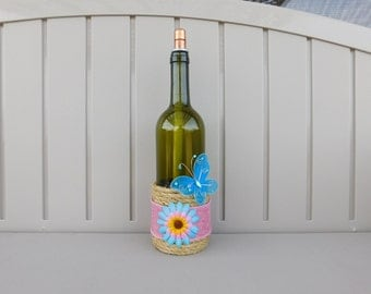 Wine Bottle Tiki Torch with Pink Burlap and Blue Butterfly
