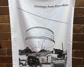 Petersham Water-tower  - organic cotton teatowel/Petersham/Sydney/Australia