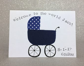New baby card / new baby boy card / new baby girl card / personalised newborn card / personalised new baby card / applique pram card