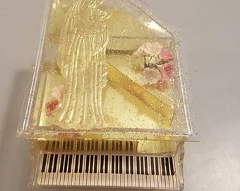 Gold Fleck Lucite Piano Jewelry Box w/ flowers, Virgin Mary
