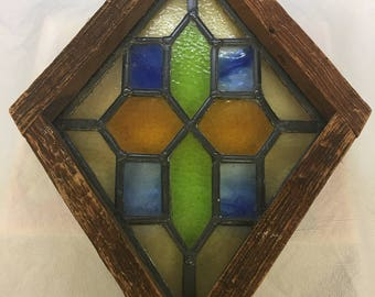 Vintage Stained Glass Hanging