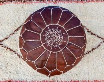 Brown Moroccan leather pouf  handmade leather pouf  ottoman unstuffed / stuffed