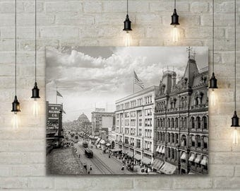 Old Buffalo NY Photo, Main Street Buffalo, New York State, 1904 Black White Photography, Wall Art, Industrial Art, Poster Art