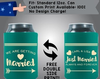 We are Getting Married Always and Forever Fabric Wedding Can Coolers, Cheap Can Coolers Wedding Favors (W251)