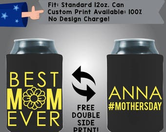 Best Mom EVER Name #MothersDay Collapsible Fabric Can Cooler Double Side Print (Mom3) Black Yellow Heart Mother's Day Beer Coolie