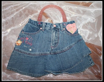 Denim Laugh and Play Up-Cycled Skort Purse, Skort Purse, Faded Glory Skort Purse