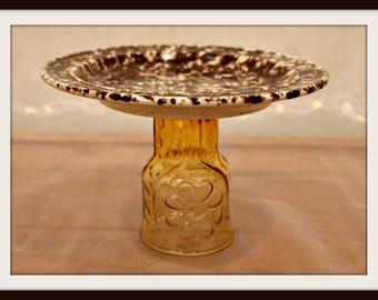Repurposed Glass Dish on a Pedestal, Decorative Glass Dish, Soap Dish