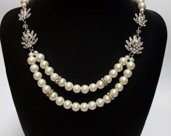 Bridal Necklace, Wedding Pearl Necklace, Pearl Necklace,Rhinestone Necklace. ZOE
