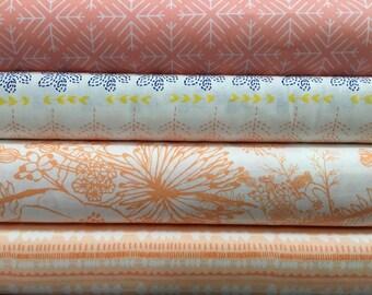 4 Fabric Bundle, Flower Fabric, Designer Fabric by the Yard