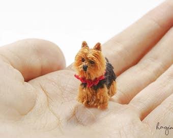 Miniature Yorkshire Terrier, Tiny crochet dog, Tiny amigurumi crochet animal