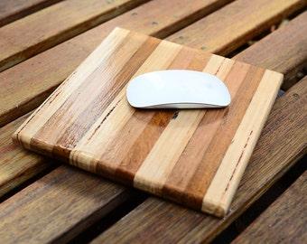 Hardwood edge grain mouse pad