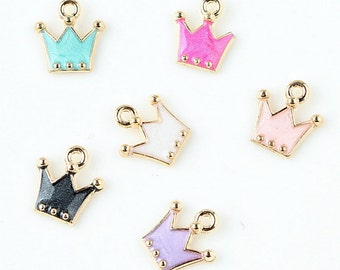 10PCS Crown Charms Pendant Diy Jewelry Accessories for Necklace & Bracelet Making Enamel Charms In Gold Metal