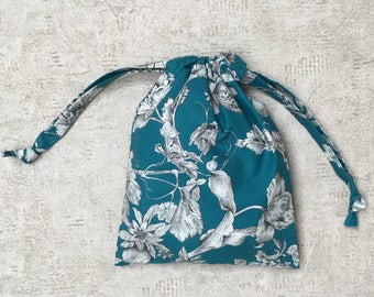 smallbag unique in flowery blue turquoise - cotton bag