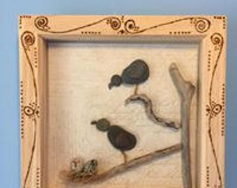 New Pebble picture boxframe birds and nest with eggs on branch