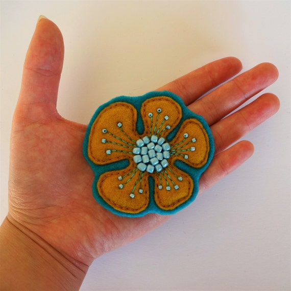 Egyptian Yellow & Blue Poppy Flower Brooch