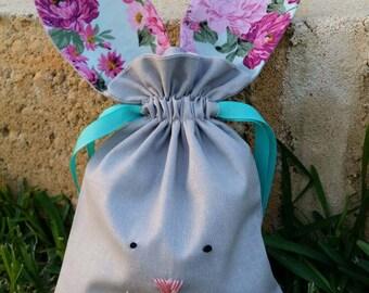 Aqua floral easter bunny bag