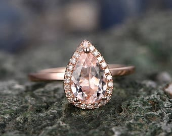 Morganite engagement ring-handmade Solid 14k Rose gold ring-Solitaire Stacking band-5x7mm Tear Drop Halo gemstone promise ring-Bridal Ring
