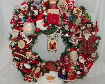 Vintage Santa Claus Wreath St Nick Father Christmas Xmas Holiday 19497