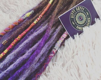 UK Custom made human hair dreadlock extensions. Light brown to lilac and violet